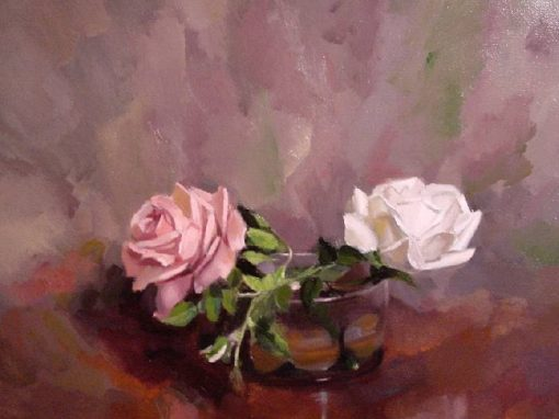Two roses, oil painting