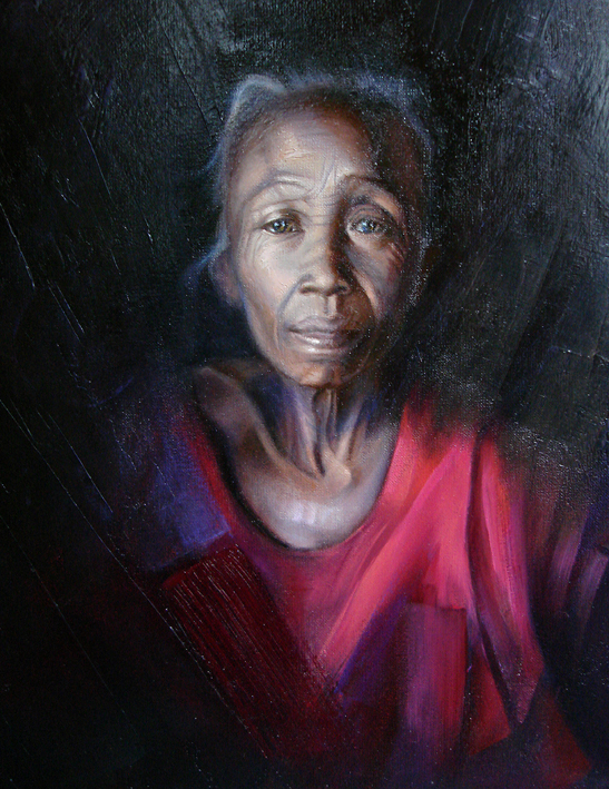 Portrait of old woman, oil painting