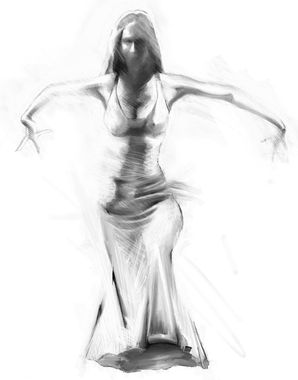 Flamenco dancer, digital painting sketch