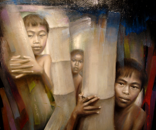 Kids and bamboo, oil painting