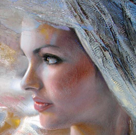 Oil portrait in profile, grey harmony
