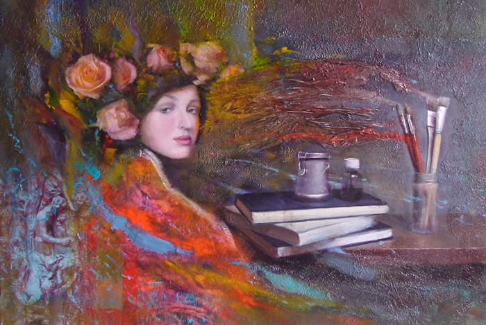 Beauty and brushes, oil painting