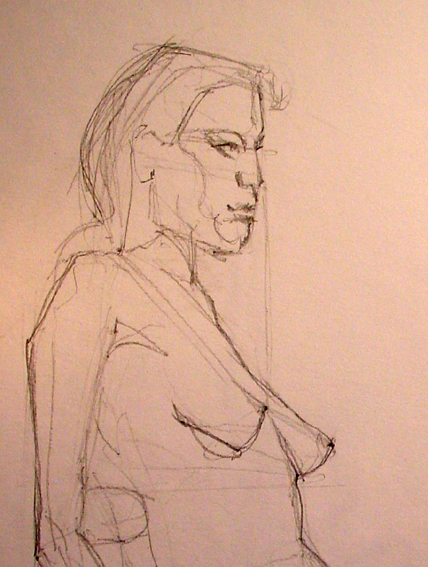 Boceto de mujer sentada