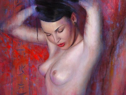 Oriental nude in red, oil painting
