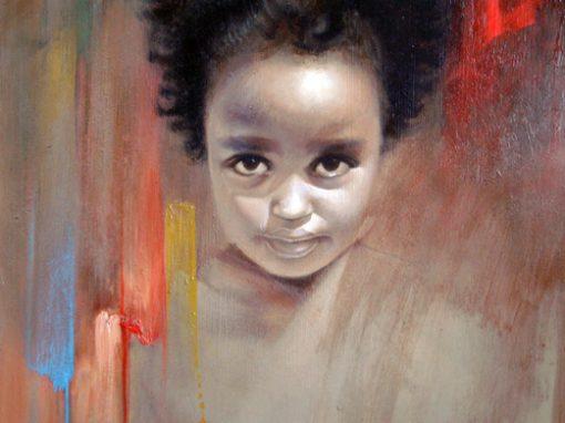 Haiti, portrait of girl, oil painting