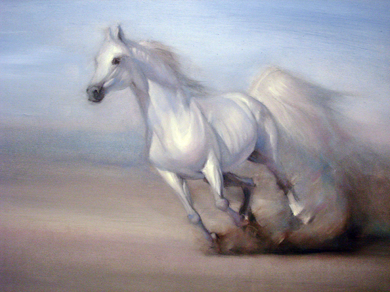 Horse galloping, oil painting