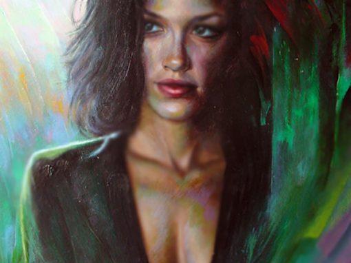 Awaiting, portrait color study, oil painting