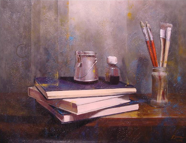 Books and brushes, oil painting
