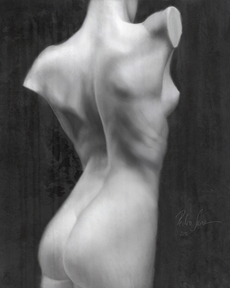 Back nude after sculpture, digital painting