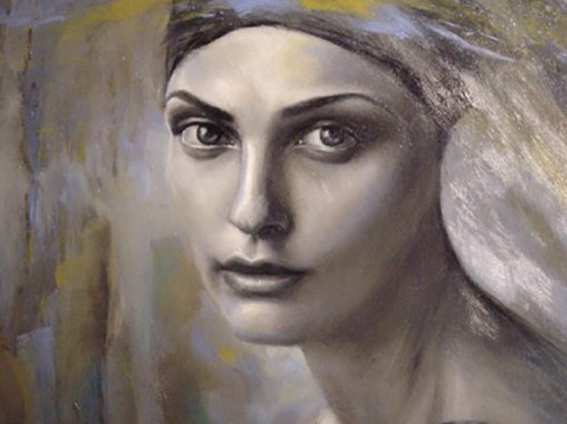 Harmony in grey portrait, oil painting