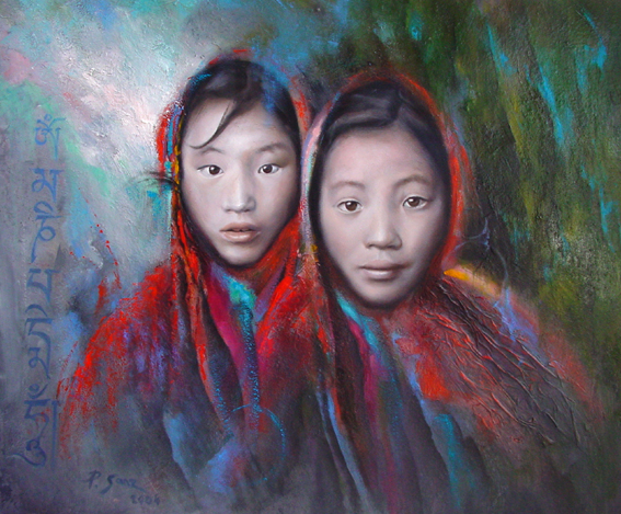 Tibetans, oil painting