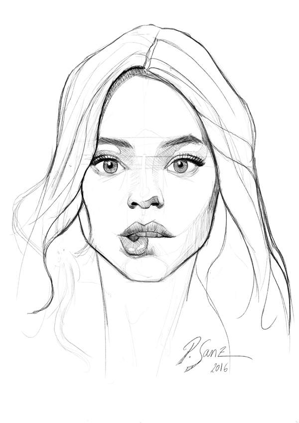 Portrait sketch of Astrid Berges