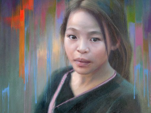 Asian girl oil portrait