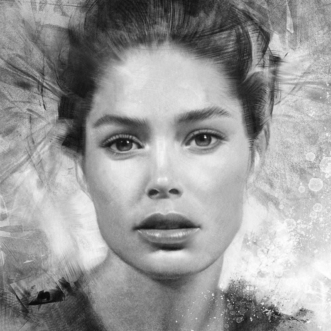 Woman portrait in digital charcoal