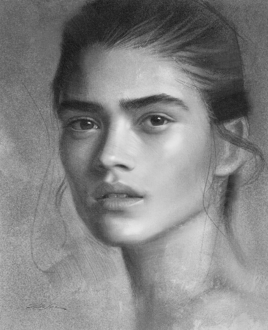 Portrait drawing with organic charcoal