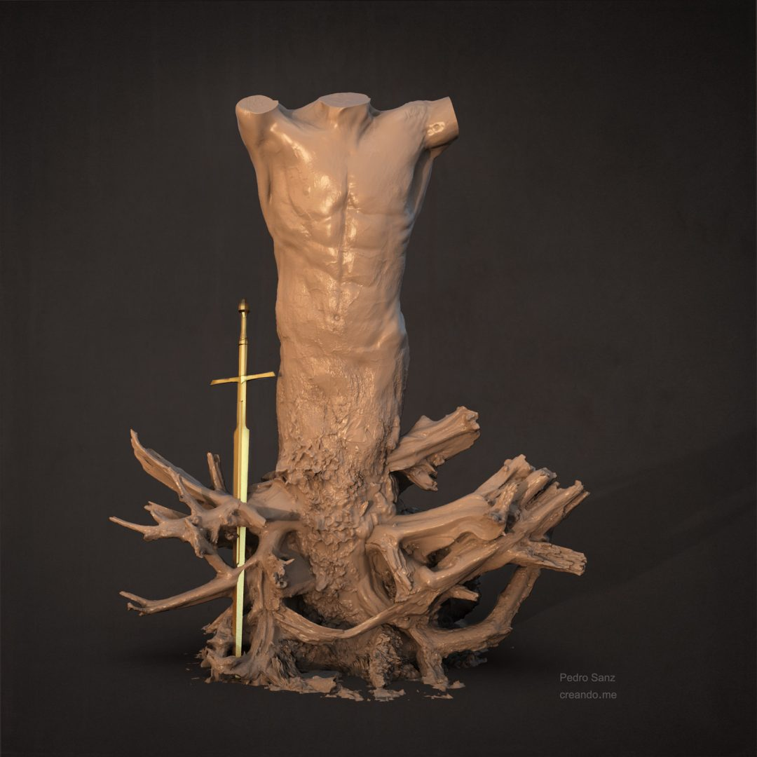 Clay torso and tree sculpture