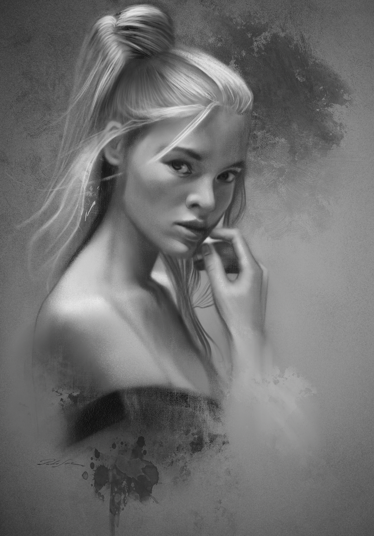 Pedro Sanz Gonzalez, digital portrait drawing using custom graphite brushes in Photoshop.